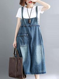 ポケット付のデニムサロペットワンピース☆ゆったり着られる《ミニョンイージーライフ》★